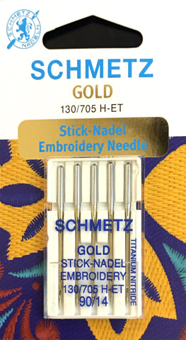 Schmetz 130/705 H-ET Gold (Titanium Nitrade) Sewing Needles $7.50 130/705, HAx1, Sale, Schmetz, sewing machine, sewing machine needles Lye Nai Shiong