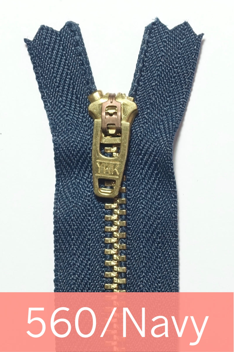 YKK Metal Zipper Gold 07IN