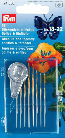 PRYM Chenililie & Tapestry Needles No.18-22 and Threader