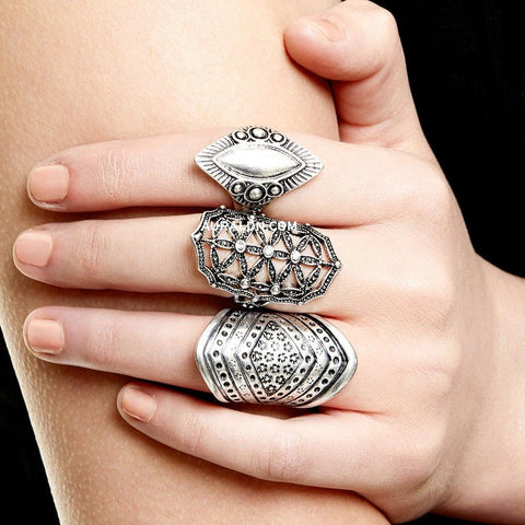 BOND STREET STATEMENT RING SET - SILVER