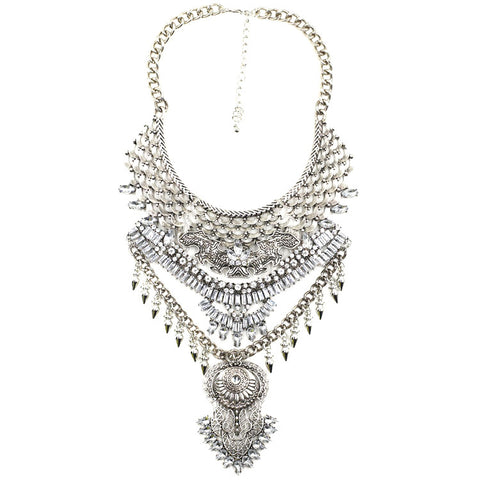 Burlington silver gems statement necklace | AURA