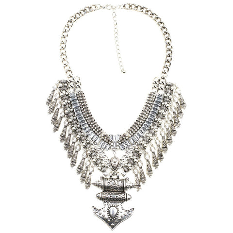 Carnaby silver gems statement necklace | AURA