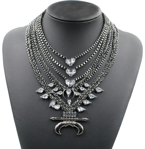 Brick Lane gunmetal gems statement necklace | AURA