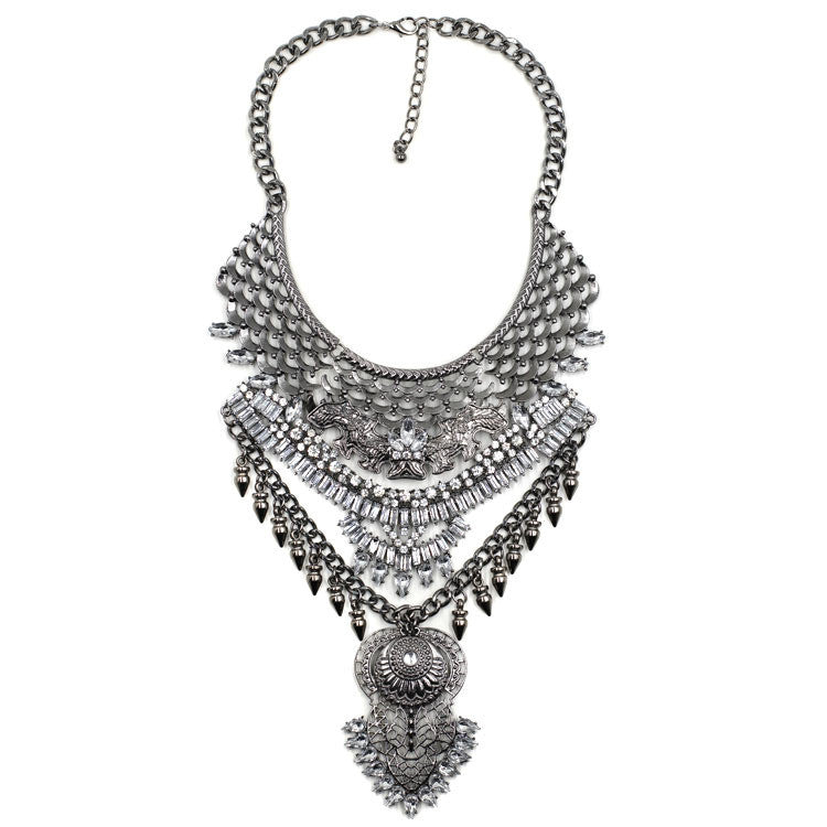Burlington gunmetal gems statement necklace | AURA