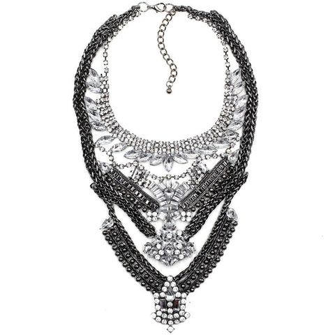 Chelsea gunmetal silver gems statement necklace | AURA
