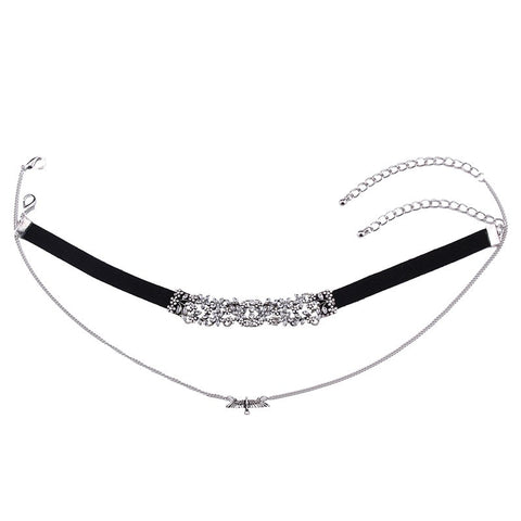 KENSINGTON SILVER & BLACK CHOKER NECKLACE SET