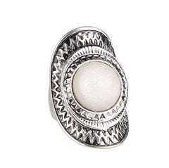Brick Lane silver moonstone statement ring | AURA