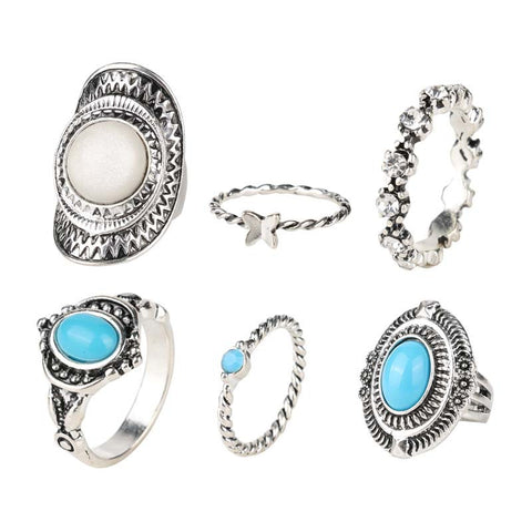 BRICK LANE STATEMENT RING SET - SILVER