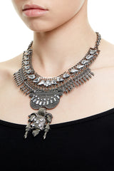 PICCADILLY STATEMENT NECKLACE - GUNMETAL
