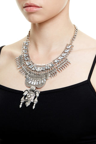 PICCADILLY STATEMENT NECKLACE - SILVER