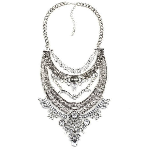 Belgravia silver gems statement necklace | AURA