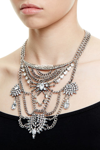 REGENTS PARK  STATEMENT NECKLACE - SILVER