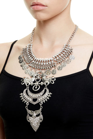 SHOREDITCH  STATEMENT NECKLACE - SILVER