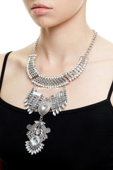 TEMPLE STATEMENT NECKLACE - SILVER