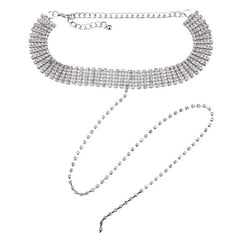 CRYSTAL PALACE SILVER DROP CHAIN CHOKER