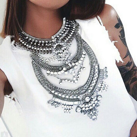 Harrow Silver Statement Necklace | AURA