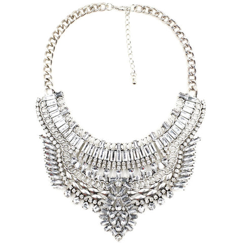 Angel silver gems statement necklace | AURA