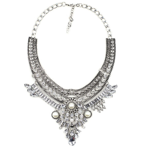 Bond Street silver gems statement necklace | AURA