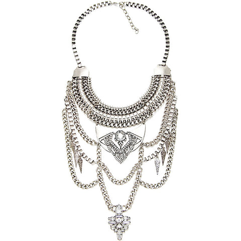 Camden silver gems statement necklace | AURA