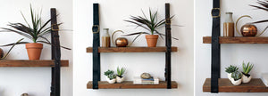 Eye on DIY - leather and wood shelving