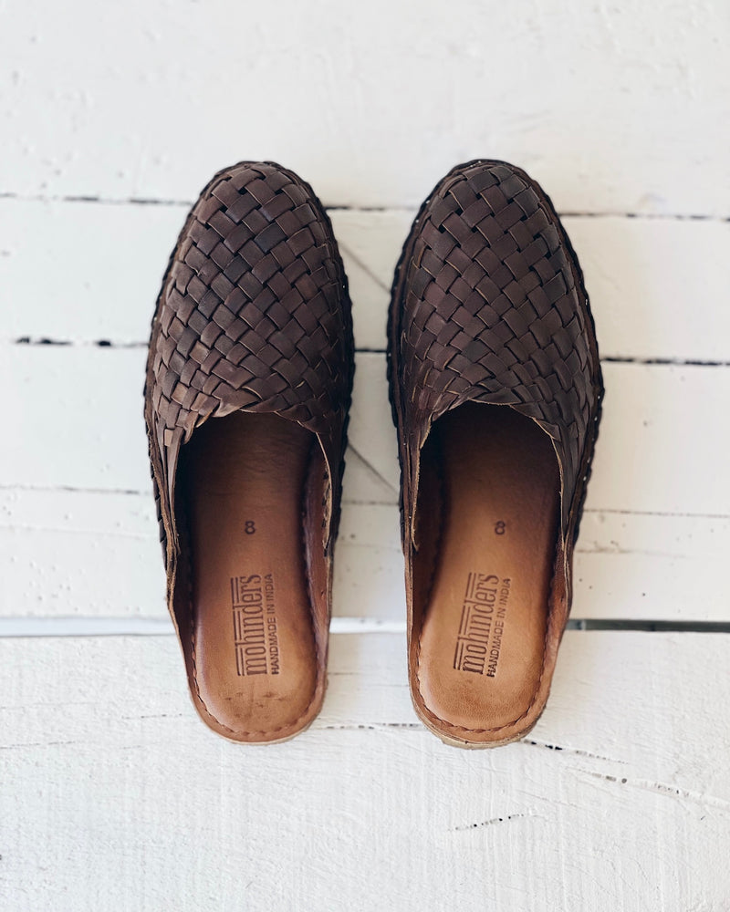 Woven Slide - Oiled leather