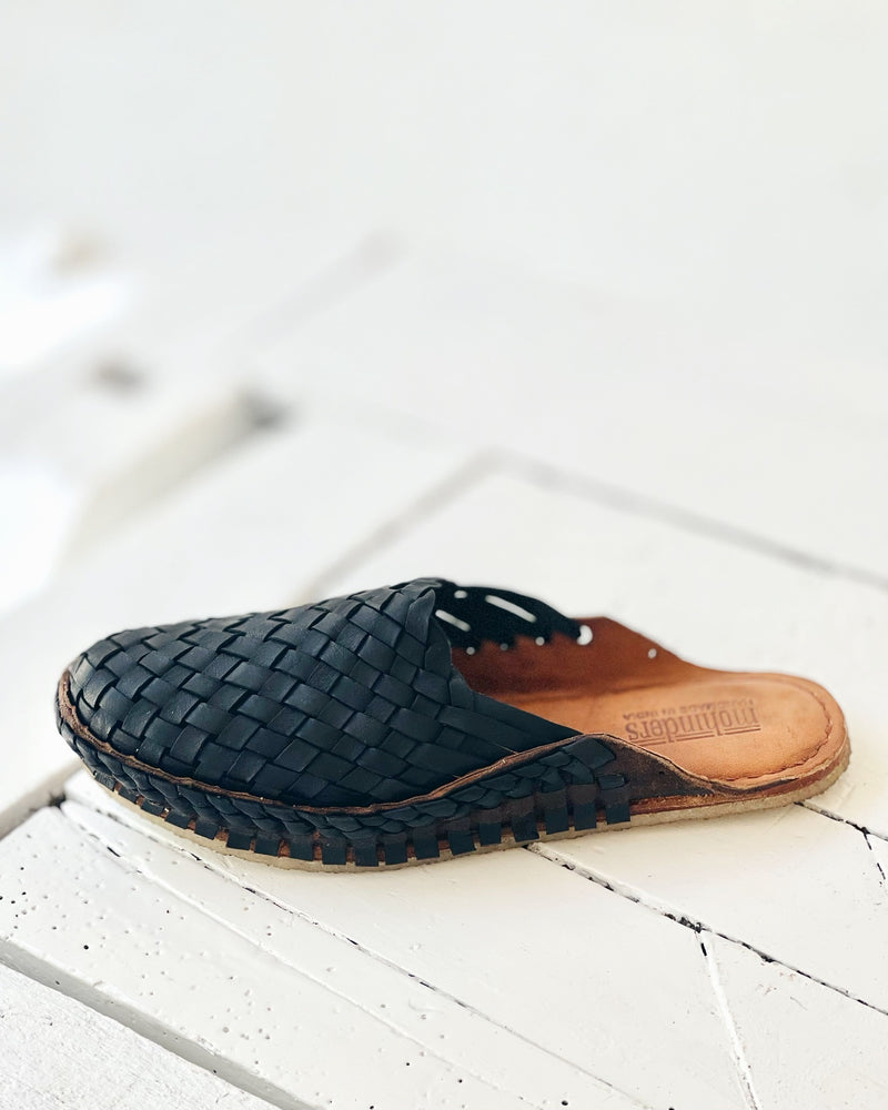 Woven Slide - Iron dyed leather