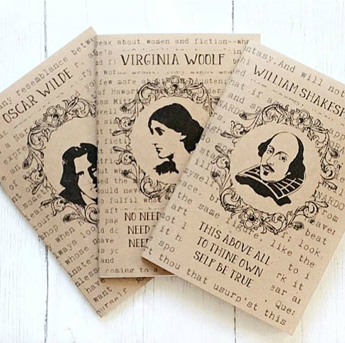 3 Notebook Set - 'Famous Writers' - Shakespeare, Oscar Wilde & Virginia Woolf - Nabu Bookish Gifts