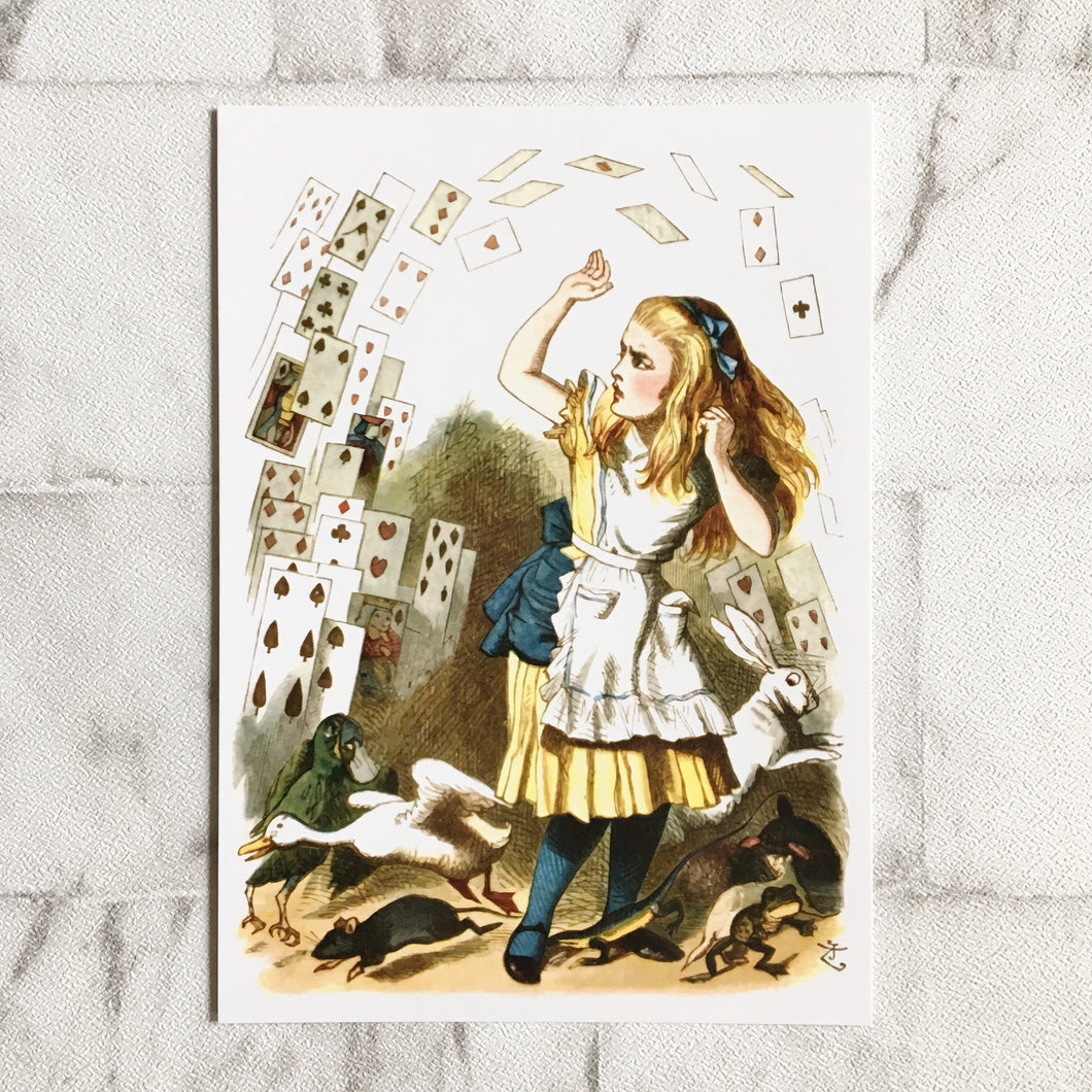 Alice In Wonderland Postcard -  Flying Cards Illustration