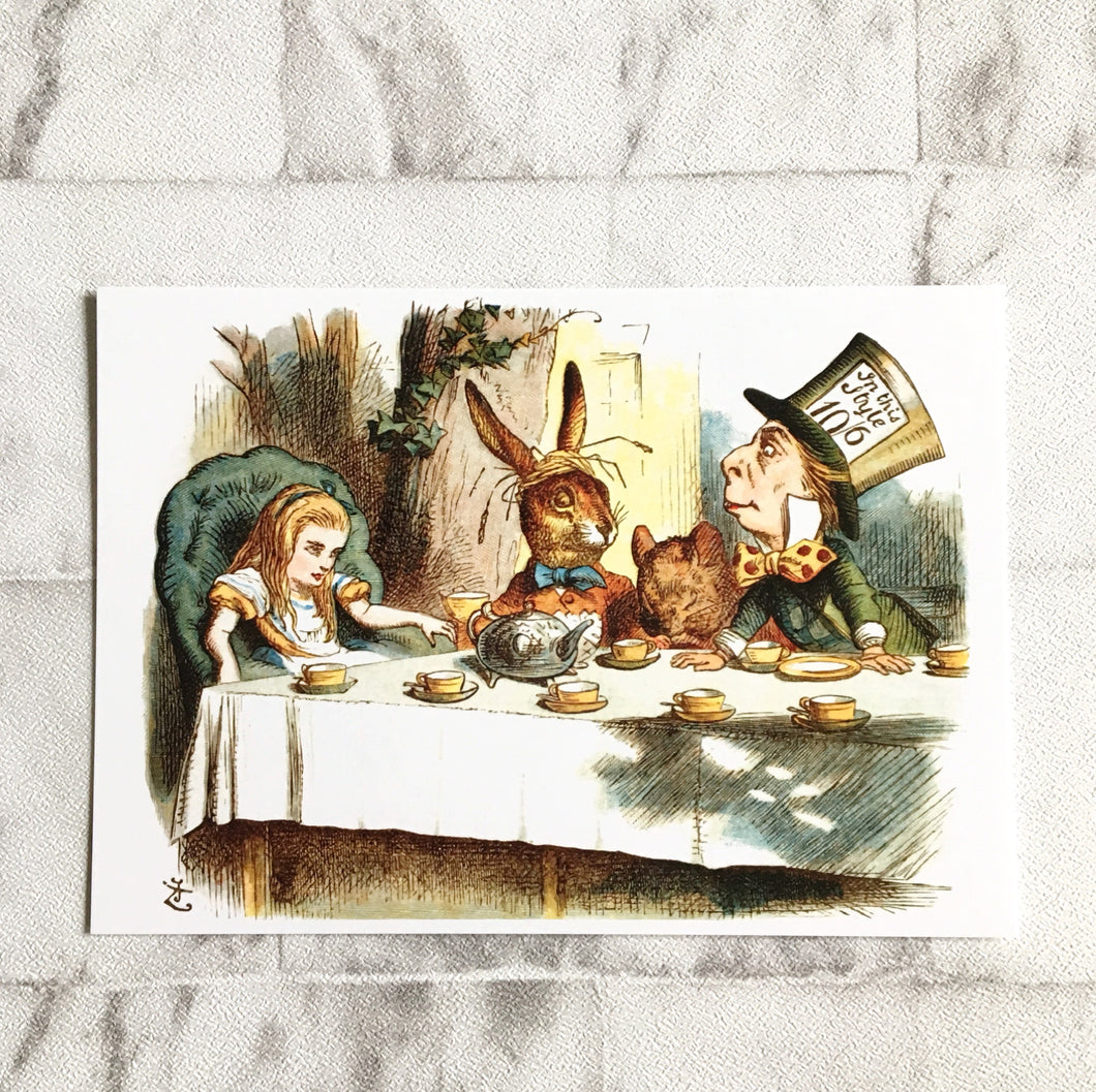 Alice In Wonderland Postcard -  Tea Party Illustration - Nabu Bookish Gifts