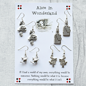 Alice In Wonderland Earring Set - Sterling Silver/Silver Plated - Nabu - Literary Gifts For Book Lovers