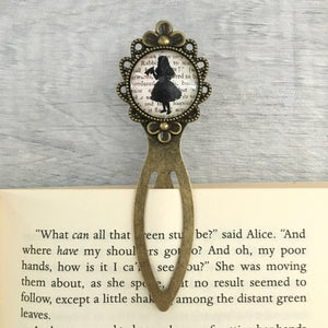 Alice In Wonderland Bookmark - Alice - Vintage Bronze & Glass - Nabu - Literary Gifts For Book Lovers