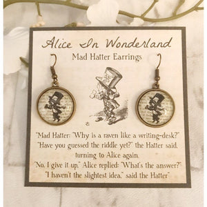 Alice In Wonderland Earrings - Mad Hatter Silhouette
