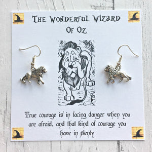 The Wonderful Wizard Of Oz Earrings - Cowardly Lion - Sterling Silver/Silver Plated - Nabu - Literary Gifts For Book Lovers