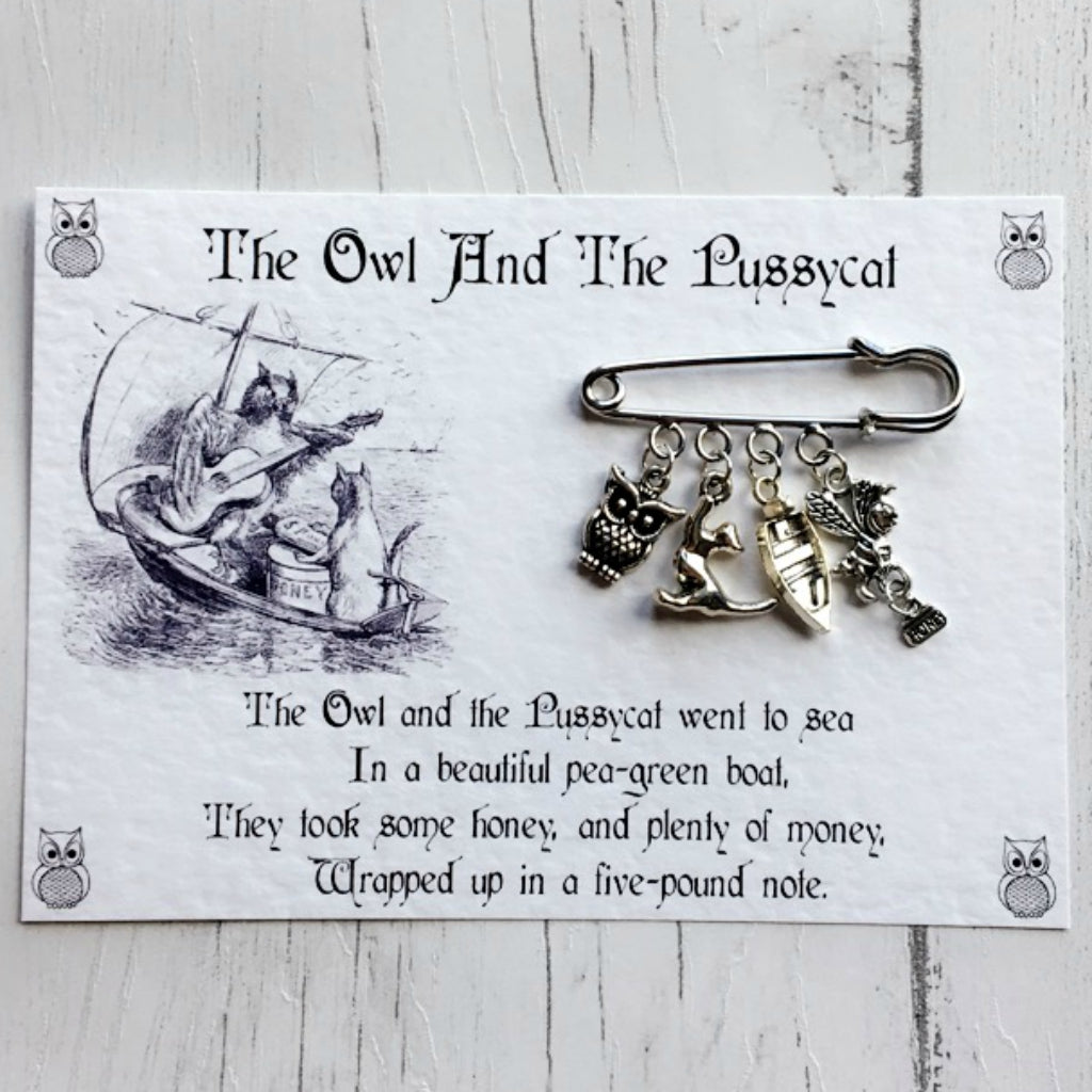 The Owl And The Pussycat Brooch - Nabu Bookish Gifts | Literary Gifts For Book Lovers