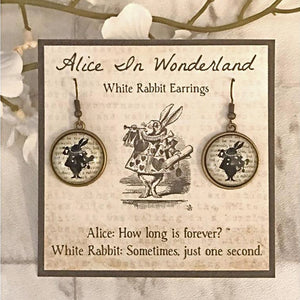 Alice In Wonderland Earrings - White Rabbit Silhouette - Nabu Bookish Gifts | Literary Gifts For Book Lovers