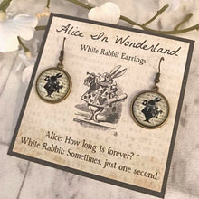 Alice In Wonderland Earrings - White Rabbit Silhouette