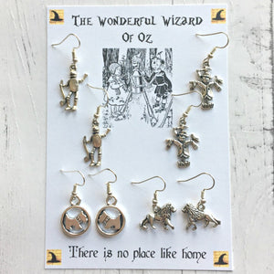The Wonderful Wizard Of Oz Earring Set - Sterling Silver/Silver Plated - Nabu - Literary Gifts For Book Lovers