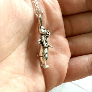 Alice In Wonderland Necklace - 3D White Rabbit - Sterling Silver/Silver Plated - Nabu - Literary Gifts For Book Lovers
