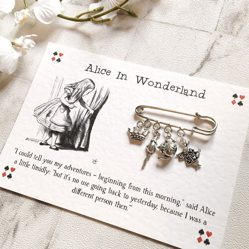 Alice In Wonderland Brooch - Nabu Bookish Gifts