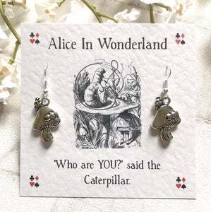 Alice In Wonderland Earrings - Caterpillar - Silver Plated/Sterling Silver - Nabu - Literary Gifts For Book Lovers