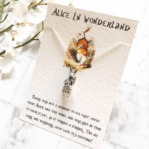 Alice In Wonderland Necklace - 3D White Rabbit - Nabu Bookish Gifts | Literary Gifts For Book Lovers