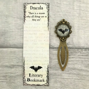 Bram Stokers Dracula Vintage Bronze & Glass Bookmark - Bat - Literary Gift - Lit - Nabu - Literary Gifts For Book Lovers