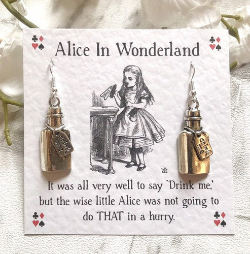 Alice In Wonderland Earrings - Drink Me Bottle - Nabu Bookish Gifts | Literary Gifts For Book Lovers