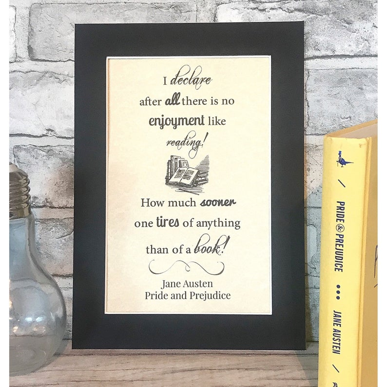 Pride & Prejudice Typography Parchment Print - Nabu Bookish Gifts | Literary Gifts For Book Lovers