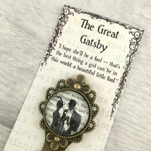 The Great Gatsby Bookmark - Vintage Bronze & Glass - Nabu - Literary Gifts For Book Lovers
