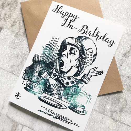 Alice In Wonderland Birthday Card - Mad Hatter - Nabu Bookish Gifts