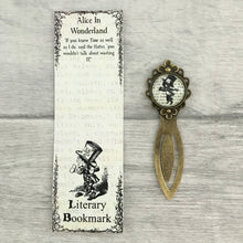 Alice In Wonderland Bookmark - Mad Hatter - Vintage Bronze & Glass - Nabu - Literary Gifts For Book Lovers