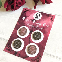 Edgar Allan Poe Badge Pack - Nabu Bookish Gifts | Literary Gifts For Book Lovers