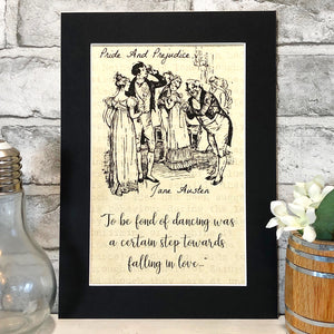 Pride And Prejudice Illustration Parchment Print - Nabu Bookish Gifts