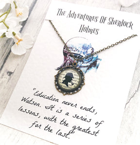Sherlock Holmes Necklace - Antique Bronze Tone Glass Pendant - Nabu Bookish Gifts